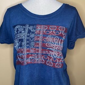 Lucky Brand Embroidered American Flag Tee Large